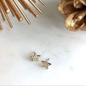 JCrew gold/diamond star stud earrings